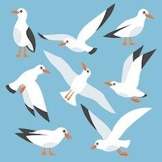 cartoon atlantic seabird seagulls flying in blue sky. sea ocean gull bird in a vector flat style Sky Sea, Sea And Ocean, Seagulls Flying, Fun World, Bird Crafts, Flat Style, Cool Art Drawings, Sea Birds, Bird Art