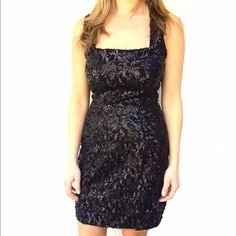 """Sequin dress Feminine sheath dress features allover sequins for a stunning style • Square neckline and sleeveless construction • Eye-catching cutout at back •Button-loop closure at back of neck • fully lined • zipper closure in the back • no size tag, fits S, 16.5"""" armpit to armpit, 35"""" long BB Dakota Dresses"""