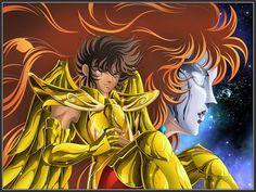 Seiya de Sagitário e ao fundo sua mestra Marin de Águia. - Arte por Juni Anker: http://www.pharaonwebsite.com/users/juni_anker/