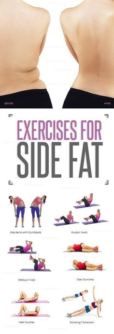 8 Effective Exercises That Reduce Your Side Fat. by trisha 8 Effective Exercises That Reduce Your Side Fat. by trisha Fitness Workouts, Sport Fitness, Body Fitness, Fitness Diet, At Home Workouts, Health Fitness, Workout Exercises, Workout Routines, Physical Fitness