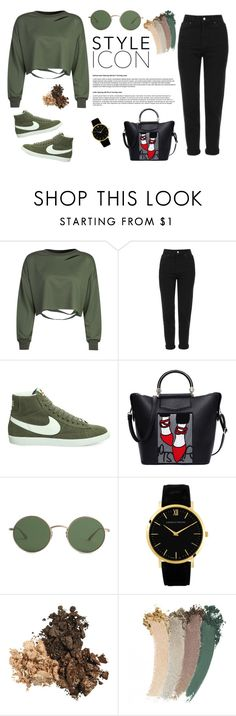"""Outfit Green and Black"" by thebestmery on Polyvore featuring WithChic, Topshop, NIKE, The Row e Gucci"