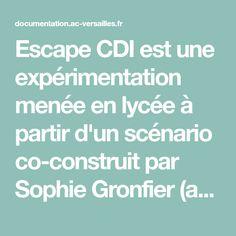 Escape CDI est une expérimentation menée en lycée à partir d'un scénario co-construit par Sophie Gronfier (académie de Dijon) et Juliette Filiol (académie de Versailles), professeures documentalistes, avec la participation de Sandrine Duquenne (académie de Versailles).