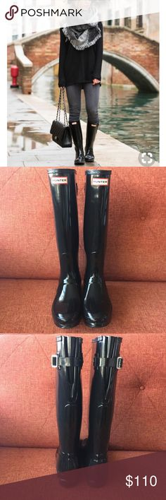 """Hunter // Tall Black Gloss Adjustable Boots The classic waterproof boot by Hunter. This is the tall gloss version with the adjustable back for a wider calf. Stay dry and in style year round. 1"""" heel. 16"""" boot shaft; 15"""" - 18"""" calf circumference; adjusts to fit wide calf. These are in excellent used condition. The right boot does have some fain scratches noted in pic 7. Not seen when wearing. No box. No trades. Hunter Shoes Winter & Rain Boots"""