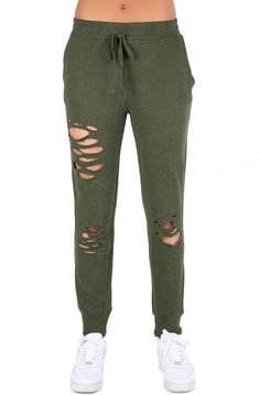 threadhitter The Jessica Destroyed Sweatpants in Olive