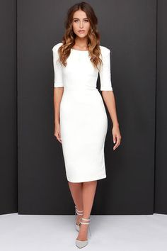 Exclusive We Built This Midi Ivory Midi Dress