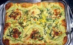 Mennyei rakott tök Hungarian Recipes, Quiche, Feta, Zucchini, Main Dishes, Food And Drink, Appetizers, Bacon, Favorite Recipes