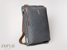 Zurlo New York - convertible backpack / courier bag wit laser cut leather pattern //