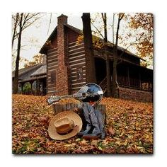 Mandolin, Boots, and a Cabin in the Woods Tile Coaster ($5.99)