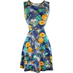 Blue & Yellow Floral Sleeveless Skater Sun Dress ($25) ❤ liked on Polyvore featuring dresses, blue, floral dresses, blue sleeveless dress, yellow sundress, blue skater dress and blue dress