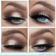 Amazing gold and brown makeup for blue eyes -