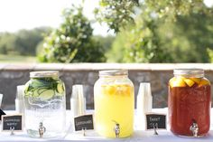 Give your guests the choice of refreshing lemonade, sweet tea, or cucumber water to keep them hydrated in the heat.