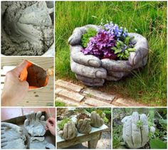 DIY Hand Cupped Stone Garden Planters instructions and picture tutorial