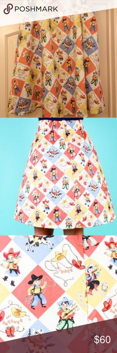 NWOT cowboy a line skirt Cute with a fun cowboy and cowgirl pattern. Unworn and still has half the tag attached. Modcloth tagged for exposure. Has room for a petticoat. Has a zipper back and some stretch around the waist. Is a small but could fit a medium easily because of the stretch. Offers encouraged. ModCloth Skirts Midi