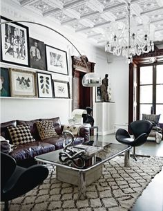 Black & white & dark leather & wood living room. Habitually Chic® ^Pillows