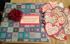 Handmade 120 reasons why I love you. Directions: Read one reason I love you every day for the next 120 days. When you are done it will be our 1 year anniversary!