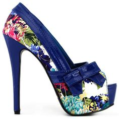 Floral Pattern Bow Peeptoe Platform Party