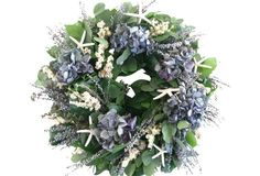 "18"" Hydrangea & Starfish Wreath, Dried"