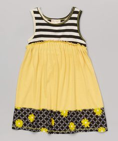 Black & Yellow Stripe A-Line Dress - Toddler & Girls #zulily *Love this