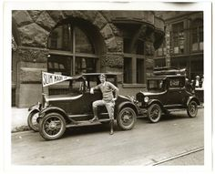 Man and Automobile in Front of Globe-Democrat Building, Sixth Street and Pine Street. (1927)