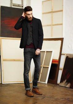 Shop this look on Lookastic:  http://lookastic.com/men/looks/waistcoat-blazer-turtleneck-skinny-jeans-derby-shoes/6886  — Charcoal Waistcoat  — Black Blazer  — Burgundy Turtleneck  — Charcoal Skinny Jeans  — Brown Leather Derby Shoes