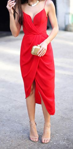 Pinterest @esib123  Red draped midi dress