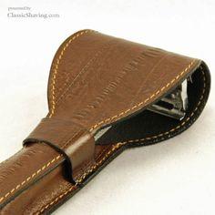 Italian Leather Safety Razor Case, textured