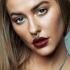 Jumana. Gold Tibetan Septum Ring - Clip | Regal Rose