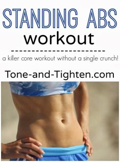 Killer Standing Abs Workout from Tone-and-Tighten.com - not one crunch in this workout! #fitness #workout #abs