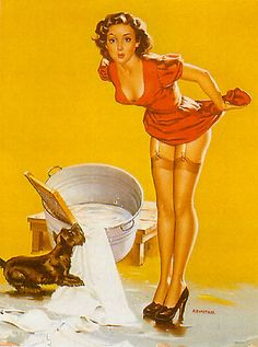 pinup laundry room wall art