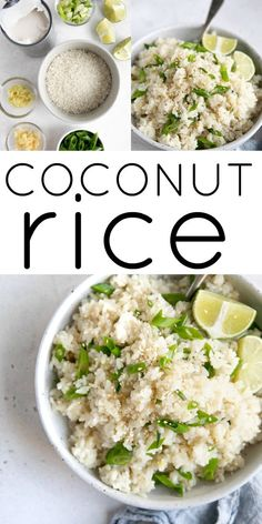 Coconut Rice Recipe (How to Make Coconut Rice) This deliciously rich and savory Coconut Rice Recipe Rice Recipes For Dinner, Side Dish Recipes, Asian Recipes, Ethnic Recipes, Arabic Recipes, Indonesian Recipes, Vegetarian Recipes, Cooking Recipes, Healthy Recipes