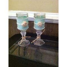 Shabby Chic Glasses or Candle Holders, Rustic Wine Glasses,Mason Jar... ($15) ❤ liked on Polyvore featuring home, home decor and candles & candleholders
