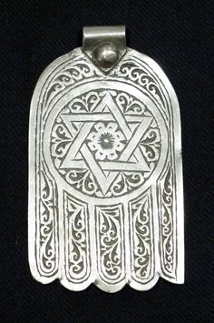Morocco | Large old hand of Fatima ~ Seal of Solomon ~ from Essaouira | Silver | Mid 20th century