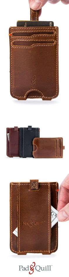 Slim Front Pocket Wallet with a pull-tab for easy card access and a money clip. Made from fine full-grain American leather, parachute-grade stitching, and exquisite attention to detail.