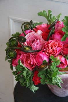 ranunculus,tulip and Japanese royal fern