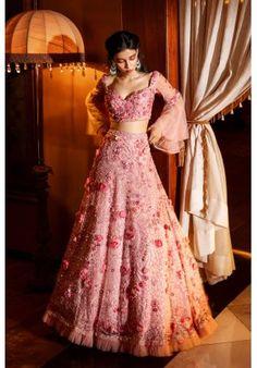 Ash-pink multi colour hand embroidered floral lehenga set with a dupatta Pink Bridal Lehenga, Floral Lehenga, Designer Bridal Lehenga, Indian Bridal Lehenga, Lehenga Choli, Anarkali, Sari, Pink Lehenga, Lehenga Blouse