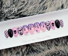 Creepy Cute Pastel Goth Press On Nails Grunge Nail Art, Goth Nail Art, Pastel Goth Nails, Pink Drawing, Kawaii Nails, Nails First, Nail Polish, Glue On Nails, Press On Nails