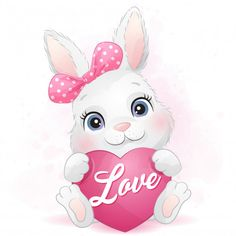 Cute Little Bunny Hugging A Heart Valentine Backdrop, Valentine Background, Baby Animal Drawings, Cute Drawings, Baby Love Quotes, Happy Mother's Day Card, Heart Hands Drawing, Sleeping Kitten, Rabbits