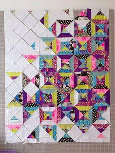 Neon Nights Quilt In Progress – Molli Sparkles Scrap Quilt, Scrappy Quilt Patterns, Jelly Roll Quilt Patterns, Batik Quilts, Modern Quilt Patterns, Jellyroll Quilts, Patchwork Quilting, Modern Quilting Designs, Modern Quilt Blocks