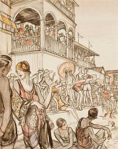 The Beach, Henry Patrick Raleigh   1923  [1/2]  Identifiable by his ink-sketch style overlaid with colored washes, Henry Patrick Raleigh (1880-1944) spent decades navigating high society and portraying opulent life as one of America's highest paid illustrators.  He  created illustrations for iconic publications such as Harper's Bazaar, The Saturday Evening Post, Vanity Fair and Colliers. // Retrografix via Flickr