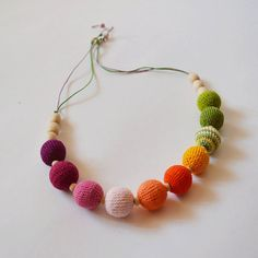 Rainbow Nursing Necklace - Present for New Mum - Waldorf Style Toy - Crochet Paci Holder - Cotton Breastfeeding Mum Infant Toy - Wood Rattle...