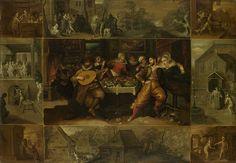 Frans Francken (II) :De geschiedenis van de verloren zoon, between 1600 and 1620 Medium oil on panel Dimensions drager Height: 61 cm (24 in) drager Width: 85 cm (33.5 in) Rijksmuseum Amsterdam De centrale voorstelling toont de Verloren Zoon die zijn erfenis spendeert in het bordeel met vrouwen, muziek, eten en drinken. Links aan de tafel een man met een luit. Rechts de Verloren Zoon met zijn arm om een vrouw aan de rand van een bed. Op tafel pasteien en oesters, op de grond liggen…