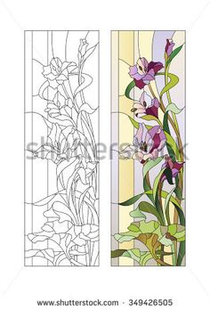 Sketch of stained glass with purple gladioli