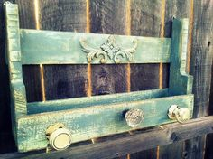Upcycled Pallet Shelf Coat Rack Catchall with Antique Door Knobs. $68.00, via Etsy.