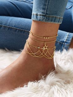 Star & rhinestone tassel decor chain anklets Dm for ordering. Ankle Jewelry, Hand Jewelry, Ankle Bracelets, Body Jewelry, Stylish Jewelry, Simple Jewelry, Dainty Jewelry, Cute Jewelry, Fashion Accessories