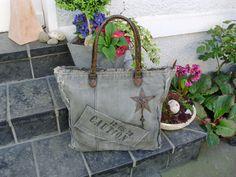 Strandtaschen - Vintage Shopper Canvas Tasche Segeltuch Leder  - ein Designerstück von Ariadne-K bei DaWanda