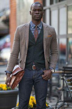 Denim shirt with vest and brown blazer