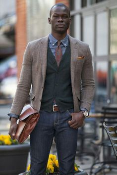 Denim shirt with vest and brown blazer