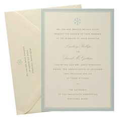 Brides: Printed Blue and Beige Winter Invite. The pale-blue border of this offset-printed invitation creates a soft and subtle alternative to a winter-themed invitation. Blonde, $300 for 100, minted.com. %u2014Cari Wolfert