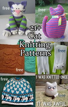 Knitting patterns for cats and kittens on toys, pillows, mittens, wash cloths, scarves and more.