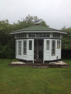 Garden shed made out of old doors